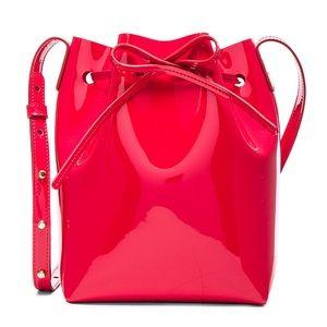 Mansur Gavriel Flamma Red Mini Patent Bucket Bag